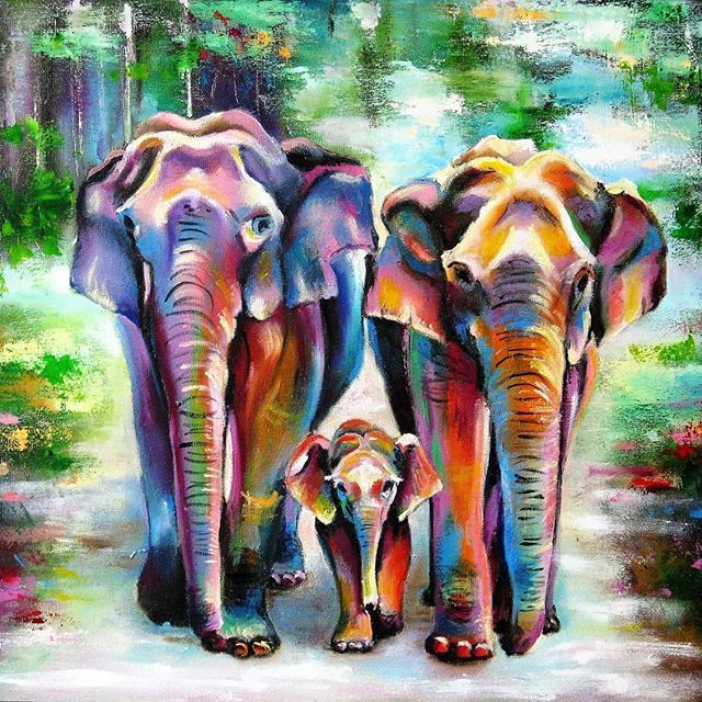 Elephant Family Oil Painting Http Lomets Com