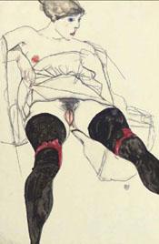 Mujer con medias negras, Egon Schiele (1931)