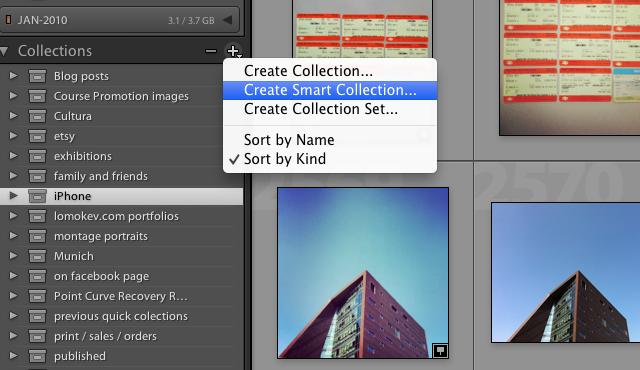 Create a new smart folder in Adobe Lightroom
