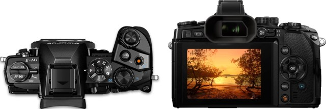Olympus OM-D E-M1 top and back