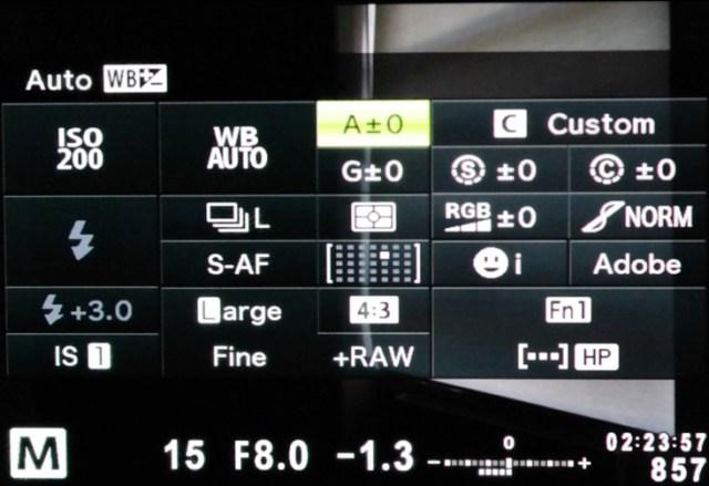 Olympus OM-D E-M1 super control panel