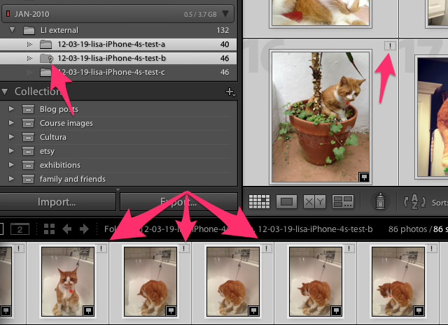 question and exclamation mark missing files lightroom