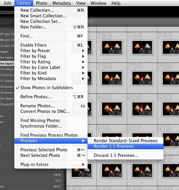 Lightroom 5 tip forcing rendering of previews