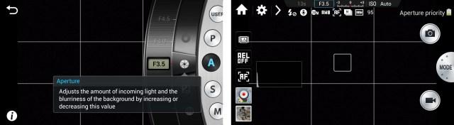 Samsung Galaxy NX professional standard mode comparison