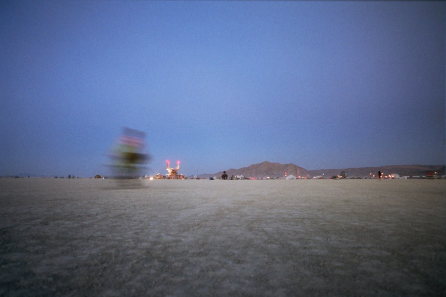 burning man at dusk 2005 by Kevin Meredith