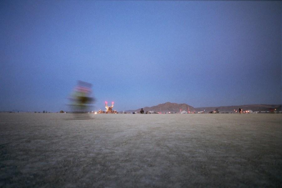 burning man at dusk 2005 by Kevin Meredith