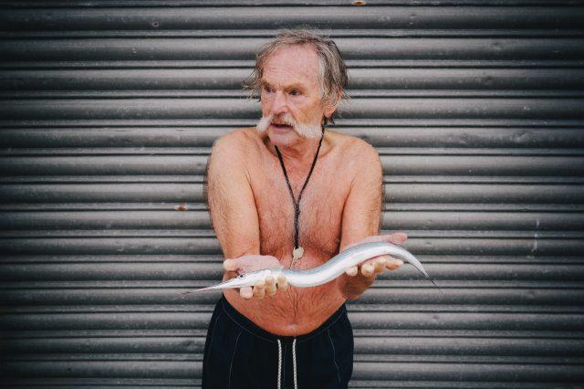 Dave Sawyers holding a garr fish