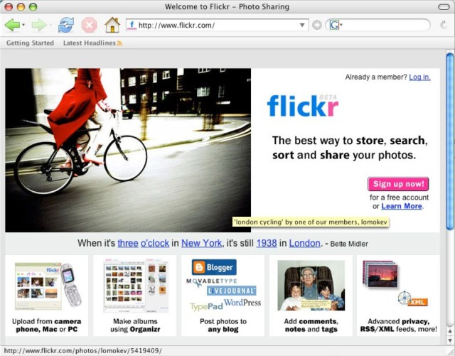 Flickr home page 2005