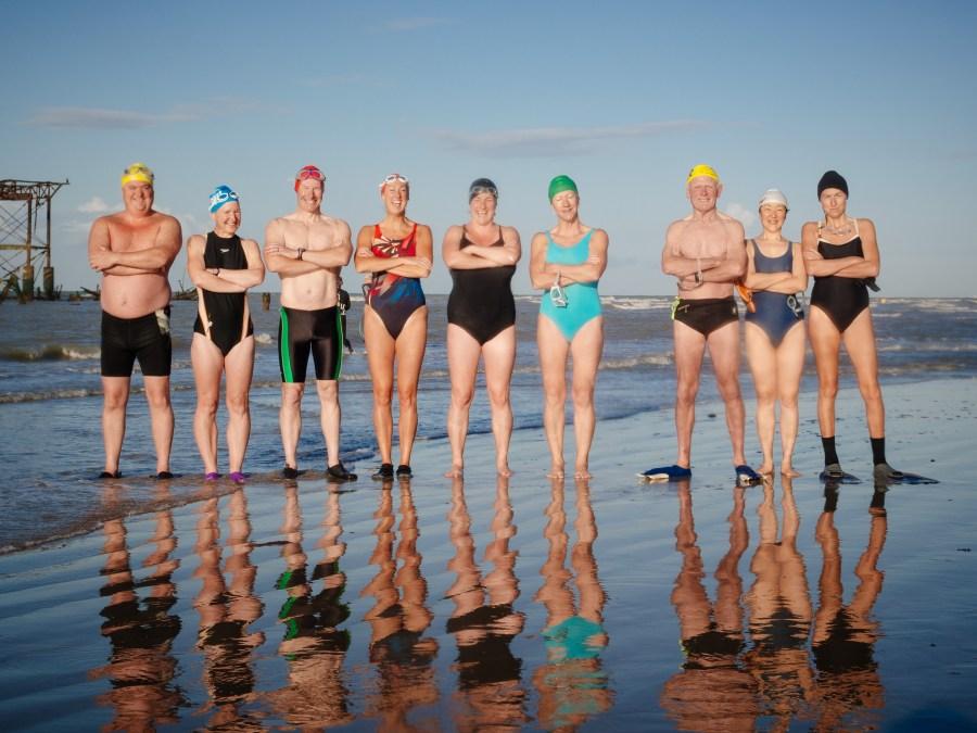 Club Members before a West Pier to Brighton Pier swim
