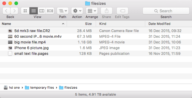 Different filesizes