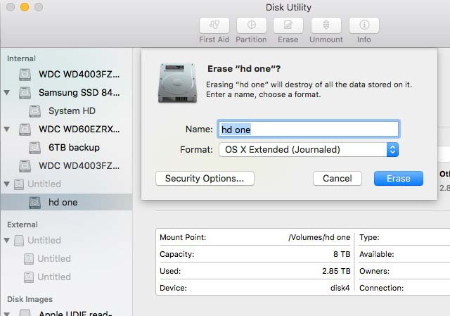 mac disk utility and format OS X extended