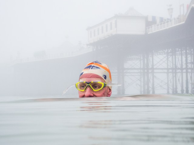 Mark Harper swimming in Brighton by Kevin Meredith