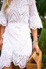 White Eyelet Wrap Dress