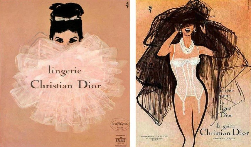 rene-gruau-dior-lingerie-image-via-thestylistdenwordpresscom-left-dior-lingerie-image-via-pinterestcom-right