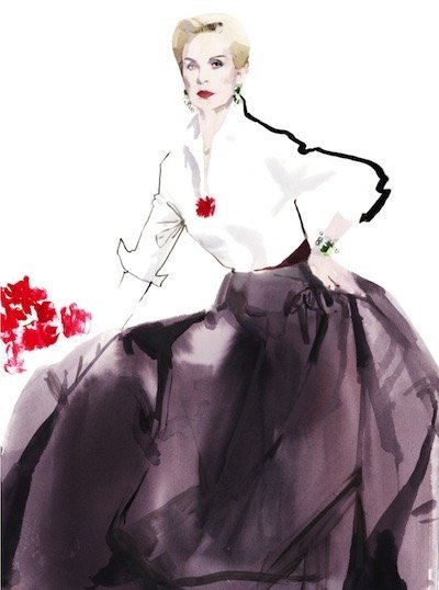 Carolina Herrera to be honored by Savannah College of Art and Design with the university's prestigious Etoile Award, given in recognition of Herrera's outstanding contributions to fashion, culture and design. Illustration by David Downton, 2012. Image courtesy of the artist. (PRNewsFoto/Savannah College of Art and Des)
