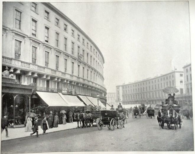 Before being rebuilt in the 1920s - the original Nash era Regent Street in the 1890s