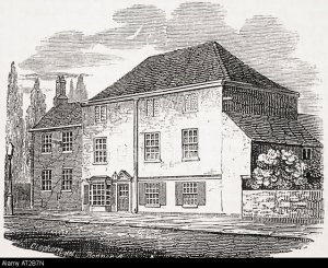 Raleigh's old house converted into the Pied Bull Inn shortly before demolition