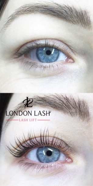 Before and after lash lift treatment