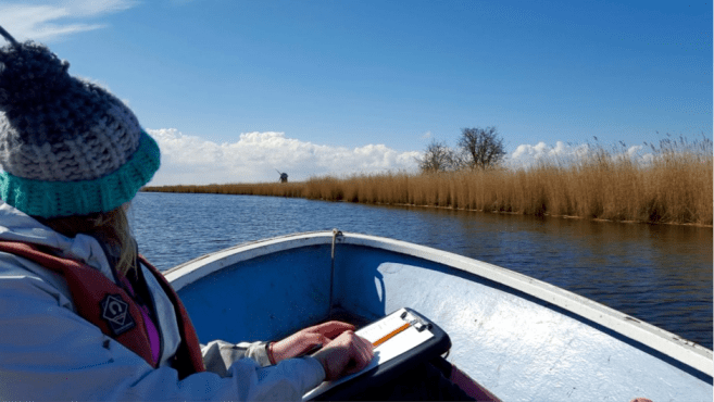 Lucy undertakes fieldwork across the Norfolk Broads. Image by Lucy Roberts. Image copyright Lucy Roberts.