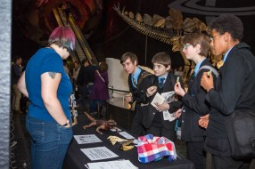 Selina Groh explains crocodile evolution at Science Uncovered. Image copyright Selina Groh.