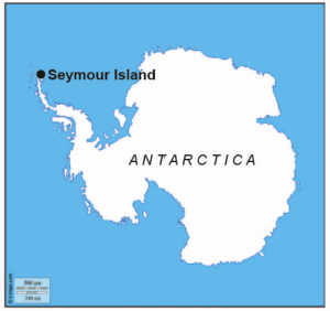 Map showing the location of Seymour Island within Antarctica.