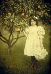John Simon Warburg, Peggy in the Garden, 1909 printed 2016, Photograph, facsimile on lightbox from autochrome, 108 x 82 mm
