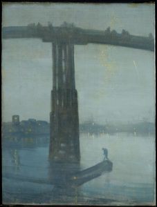 James Abbott McNeill Whistler, Nocturne: Blue and Gold – Old Battersea Bridge, 1872-5, oil paint on canvas, 683 mm x 512 mm