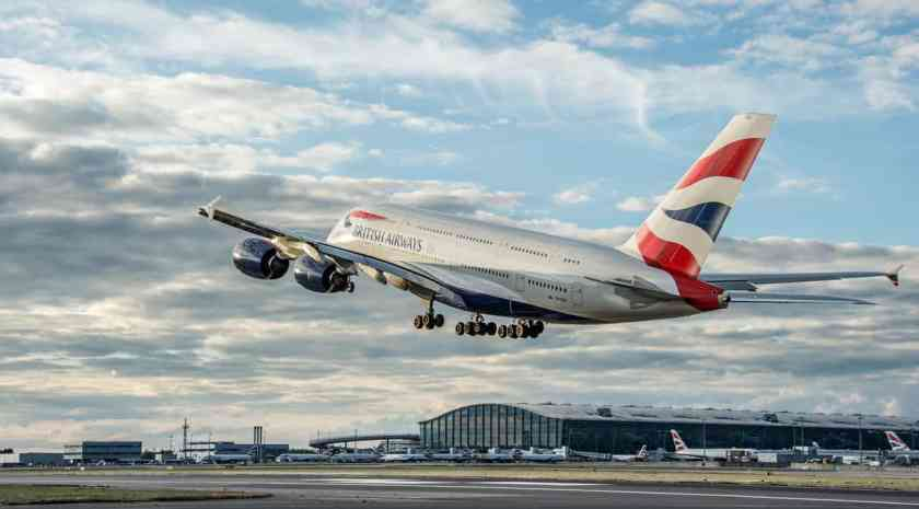 A British Airways Airbus A380 aircraft takes off at London Heathrow airport.