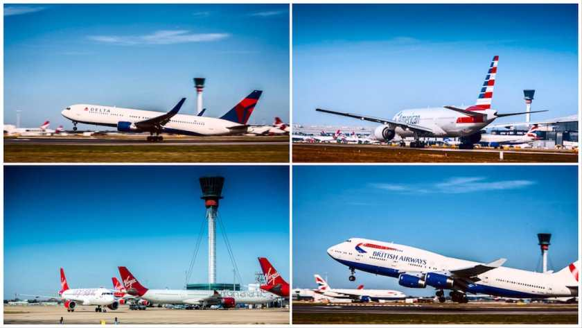 Delta, American Airlines, Virgin Atlantic & British Airways aircraft at London Heathrow