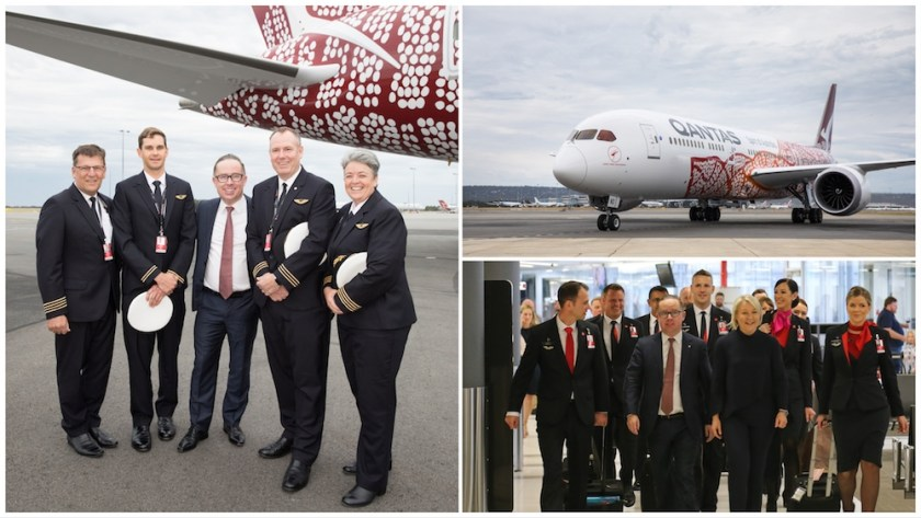 Qantas Group CEO Alan Joyce, Qantas Pilots & Cabin Crew at Perth Airport