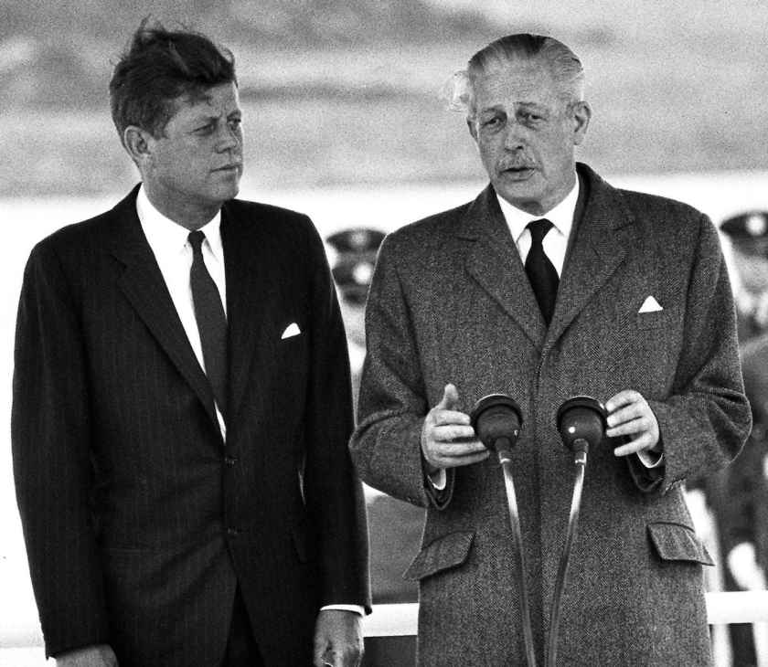 John F. Kennedy and Harold Macmillan at London Gatwick 1963