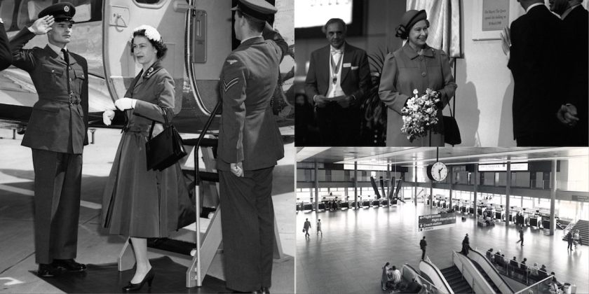 Her Majesty The Queen officially opens Gatwick on 9 June 1958; the North Terminal on 18 March 2018; Gatwick check-in area 1958