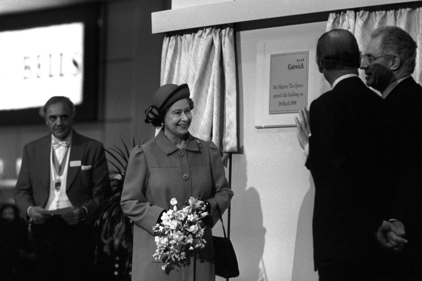 Queen Elizabeth II and Prince Philip, the Duke of Edinburgh open the North Terminal at Gatwick Airport