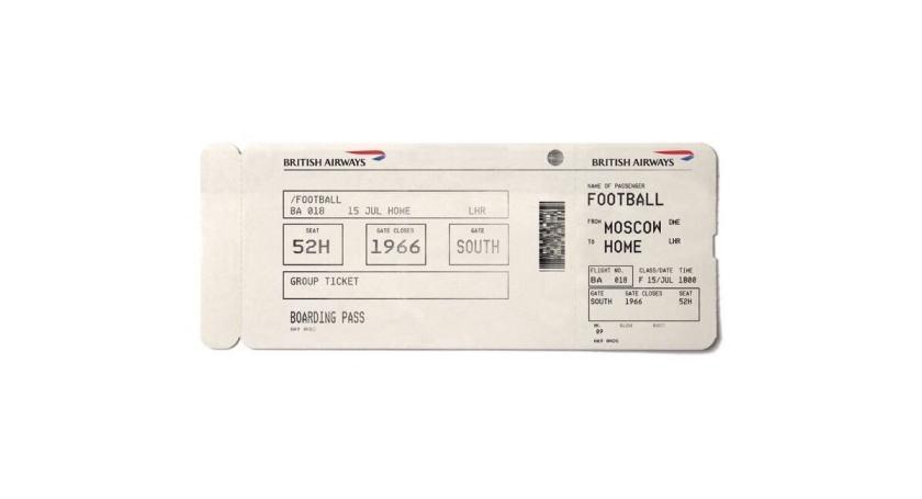 British Airways World Cup Boarding Pass (Image Credit: Ogilvy & Wavemaker UK for British Airways)