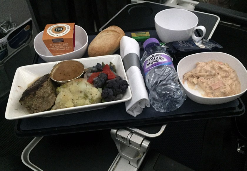 BA World Traveller Plus Meal, Seared fillet of beef, London Heathrow - Montreal