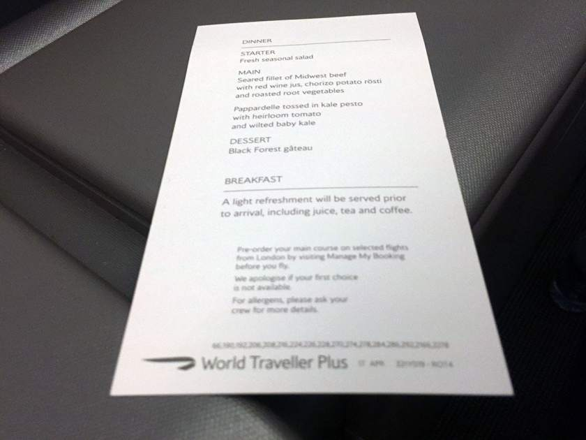 BA World Traveller Plus Menu Miami - London Heathrow