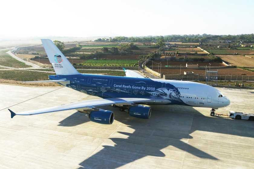 HiFly Airbus A380 in Save the Coral Reefs livery