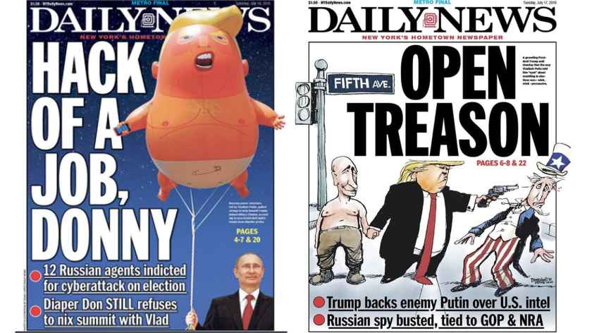 New York Daily News Front Pages Saturday 14 July & Tuesday 17 July 2018