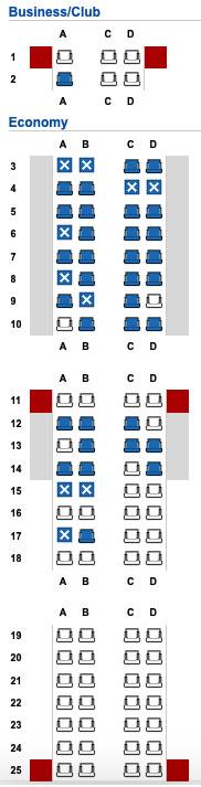 EI-GHK Embraer E190 Seat Map