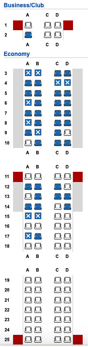 EI-GHK Embraer E190 Seat Map