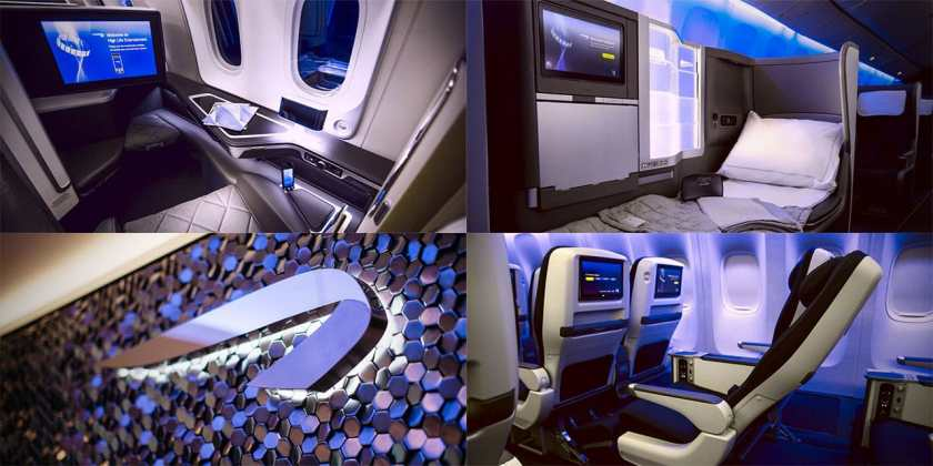 Collage of British Airways seats and cabins