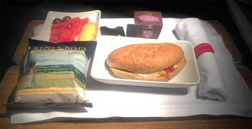 Pre-landing snack, American Airlines London Heathrow - Dallas Fort Worth