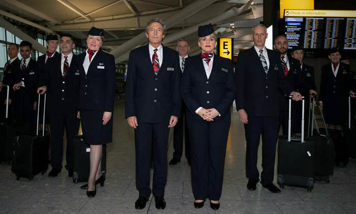 Nigel Havers & Sally Lindsay with British Airways cabin crew