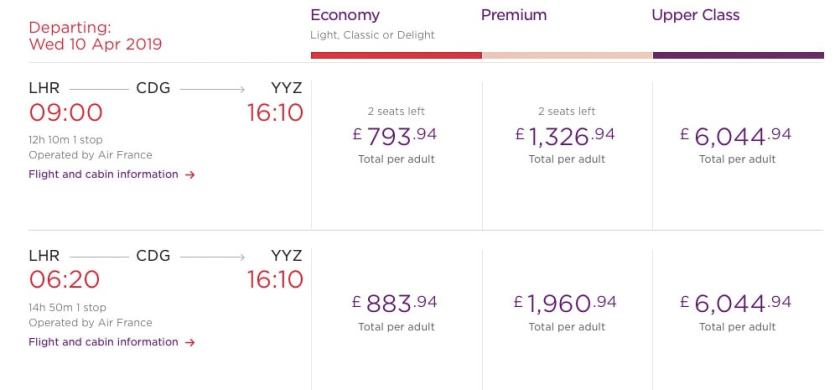 Air France-KLM Virgin Atlantic Codeshare Flights