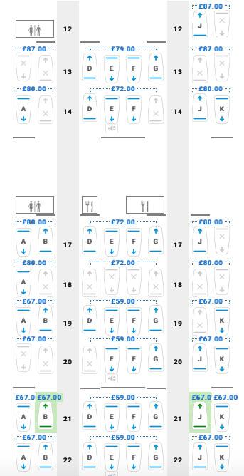Boeing 747 Club World Main Deck Seat Map