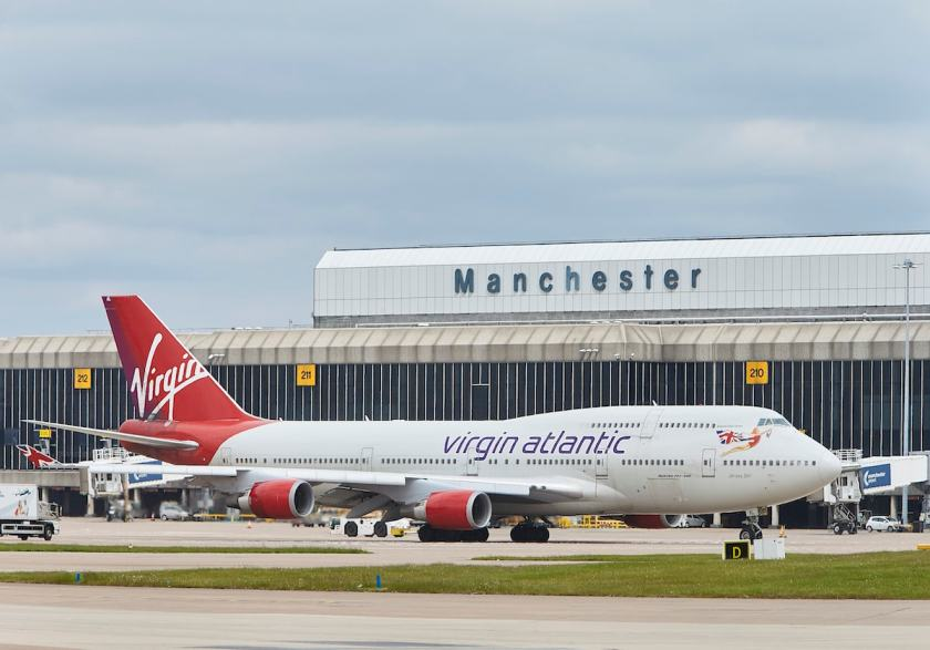 A picture of a Virgin Atlantic Boeing 747 outside Terminal 2 at Manchester airport.