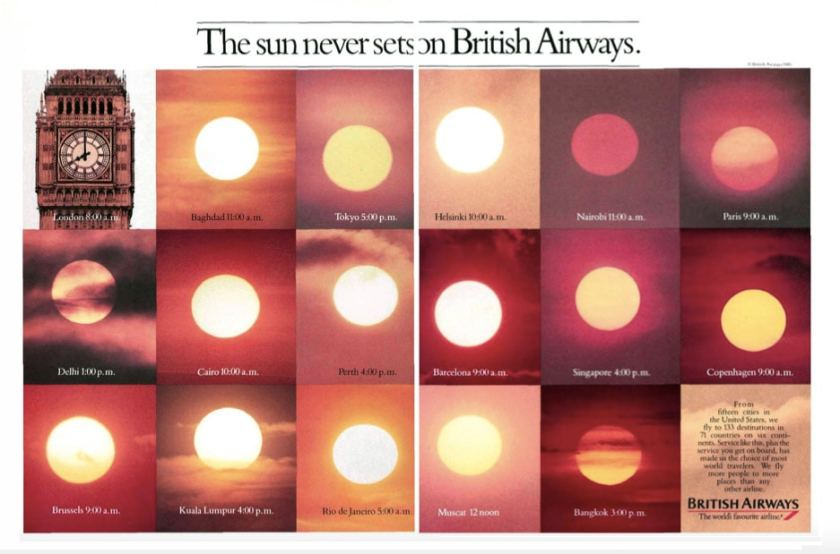 """The sun never sets on British Airways"" 1985 Advertising Campaign"