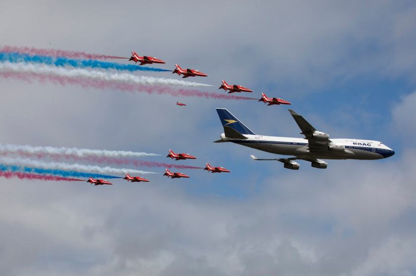 British Airways Boeing 747 & The Red Arrows Fly Past, Royal International Air Tattoo, Saturday 20 July 2019