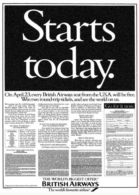 """""""The World's Biggest Offer"""" British Airways, March 1991"""