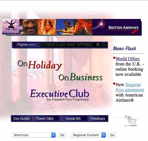 British Airways Website, 1997